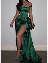 cheap -Sheath / Column Celebrity Style Sexy Prom Formal Evening Dress Off Shoulder Sleeveless Sweep / Brush Train Satin with Split 2020
