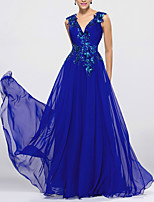 cheap -A-Line Beautiful Back Sparkle Wedding Guest Formal Evening Dress V Neck Sleeveless Floor Length Chiffon with Sequin Appliques 2020