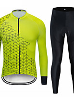 cheap -Men's Long Sleeve Cycling Jersey with Bib Tights Cycling Jersey with Tights Winter Elastane Forest Green Bike Sports Clothing Apparel