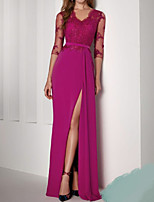 cheap -Sheath / Column Empire Floral Wedding Guest Formal Evening Dress V Neck 3/4 Length Sleeve Floor Length Stretch Satin with Split 2021