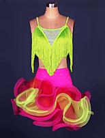 cheap -Latin Dance Skirts Cascading Ruffles Crystals / Rhinestones Girls' Training Performance Sleeveless Elastane Tulle