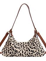 cheap -Women's Bags Faux Fur Top Handle Bag Zipper Leopard Print Plain Printing 2021 Daily Going out Earth Yellow Black / White Black Khaki