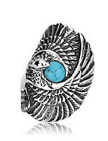 cheap -New Native American Style Titanium Steel Rings Men Big Eagle Ring Silver