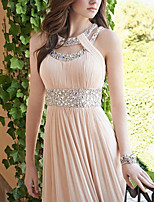cheap -Sheath / Column Cut Out Elegant Engagement Formal Evening Dress Halter Neck Sleeveless Floor Length Chiffon with Pleats Beading 2021