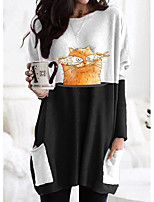 cheap -Women's T shirt Dress Cat Graphic Long Sleeve Patchwork Print Round Neck Tops Basic Basic Top Black Gray