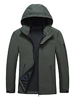 cheap -Men's Hoodie Jacket Hiking Softshell Jacket Hiking Windbreaker Jacket Top Outdoor Waterproof Lightweight Windproof Breathable Spring Summer ArmyGreen Black Navy Blue Fishing Climbing Camping / Hiking