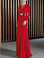 cheap -Sheath / Column Beautiful Back Sexy Wedding Guest Formal Evening Dress Jewel Neck Long Sleeve Floor Length Stretch Fabric with Sash / Ribbon 2020