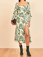 cheap -A-Line Maxi Floral Holiday Cocktail Party Dress Scoop Neck Long Sleeve Tea Length Cotton with Pattern / Print 2021