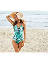 cheap -Women's New Fashion Sexy One Piece Swimsuit Abstract Floral Lace up Open Back Print Halter Padded Normal Strap Swimwear Bathing Suits Green / Leaf / Cross