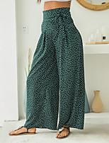 cheap -Women's Stylish Streetwear Casual Weekend Culotte Pants Polka Dot Full Length Drawstring Black Green