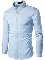 cheap -Mens Dress Shirts Non Iron Regular Fit Button Down Point Collar Shirt with Embroidery