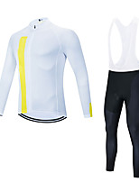 cheap -Men's Long Sleeve Cycling Jersey with Bib Tights Cycling Jersey with Tights Winter Elastane White Bike Sports Clothing Apparel