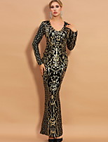 cheap -Mermaid / Trumpet Sexy bodycon Party Wear Formal Evening Dress V Neck Long Sleeve Floor Length Sequined with Sequin 2020