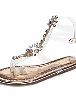 cheap -Women's Sandals Flat Heel Round Toe Roman Shoes Daily Walking Shoes PU Rhinestone Buckle Solid Colored Champagne Gold