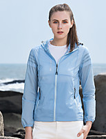 cheap -Women's Hiking Skin Jacket Skin Coat Outdoor Solid Color Waterproof Lightweight Breathable Quick Dry Windbreaker Top Nylon Elastane Fishing Climbing Running White Blue Pink