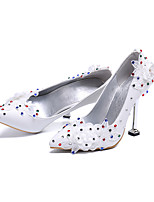 cheap -Women's Wedding Shoes Kitten Heel Pointed Toe Business Sexy Minimalism Wedding Party & Evening PU Rhinestone Satin Flower Sparkling Glitter Solid Colored White