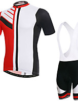 cheap -Men's Short Sleeve Cycling Jersey with Bib Shorts Elastane Red / White Bike Sports Clothing Apparel