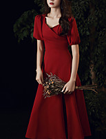 cheap -A-Line Minimalist Vintage Homecoming Prom Dress Scoop Neck Short Sleeve Tea Length Stretch Fabric with Sleek 2021