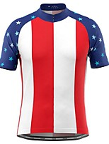 cheap -21Grams Men's Short Sleeve Cycling Jersey Red / White National Flag Bike Top Mountain Bike MTB Road Bike Cycling Breathable Sports Clothing Apparel / Stretchy / Athletic