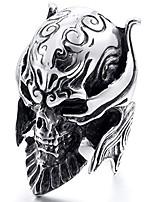 cheap -men's stainless steel ring silver tone black devil skull engraved casted size15