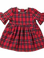 cheap -baby girl's red tartan plaid long sleeve ruffle dress (toddler) red 2t (toddler)