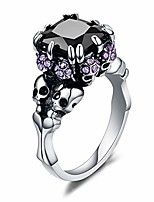 cheap -Women's Cubic Zirconia Skull Stainless Steel Rings Black Claw Gothic Band Cool Party Jewelry Purple CZ Silver Size 6