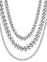 cheap -Cuban Stainless Steel Chain Necklaces | Unisex | 45cm 3.6mm + 50cm 5.5mm + 55cm 2.1mm | Tarnish Resistant + Sweat, Shower & Sea | UK Based Brand