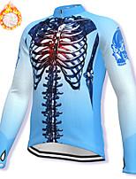 cheap -21Grams Men's Long Sleeve Cycling Jacket Winter Fleece Spandex Blue Skull Bike Jacket Mountain Bike MTB Road Bike Cycling Fleece Lining Warm Sports Clothing Apparel / Stretchy / Athleisure