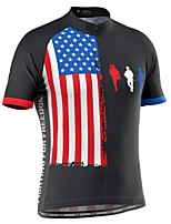 cheap -21Grams Men's Short Sleeve Cycling Jersey Black National Flag Bike Top Mountain Bike MTB Road Bike Cycling Breathable Sports Clothing Apparel / Stretchy / Athletic