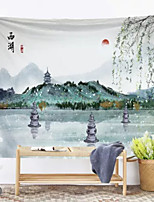 cheap -Chinese Ink Painting Style Wall Tapestry Art Decor Blanket Curtain Hanging Home Bedroom Living Room Decoration Landscape River Mountain Crane Sun