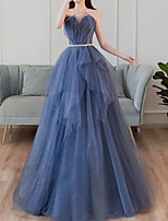 cheap -A-Line Glittering Elegant Prom Formal Evening Dress Sweetheart Neckline Sleeveless Floor Length Tulle with Sash / Ribbon Pleats Tier 2021