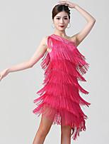 cheap -Latin Dance Dress Tassel Ruching Crystals / Rhinestones Women's Training Performance Sleeveless Polyester