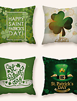 cheap -Saint Patrick's Day Cushion Cover 4PC Linen Soft Decorative Square Throw Pillow Cover Cushion Case Pillowcase for Sofa Bedroom 45 x 45 cm (18 x 18 Inch) Superior Quality Machine Washable