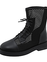 cheap -Women's Boots Wedge Heel Round Toe Booties Ankle Boots Classic Daily PU Solid Colored Almond Black / Booties / Ankle Boots