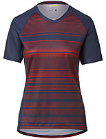 cheap -Women's Short Sleeve Downhill Jersey Red Stripes Bike Top Mountain Bike MTB Road Bike Cycling Breathable Quick Dry Sports Clothing Apparel / Stretchy / Athleisure