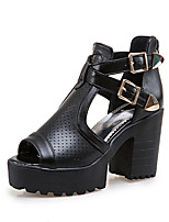 cheap -Women's Sandals Chunky Heel Peep Toe Roman Shoes Daily Walking Shoes PU Buckle Solid Colored White Black Pink