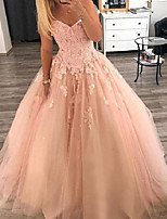cheap -Ball Gown Luxurious Floral Quinceanera Formal Evening Dress V Neck Sleeveless Floor Length Tulle with Pleats Appliques 2020