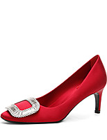 cheap -Women's Wedding Shoes Pumps Round Toe Casual Daily Walking Shoes Silk Rhinestone Solid Colored Black Red Blue