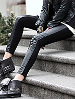 cheap -Women's Stylish Streetwear Comfort Casual Weekend Leggings Pants Plain Ankle-Length Patchwork Black