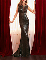 cheap -Mermaid / Trumpet Glittering Sexy Engagement Formal Evening Dress Jewel Neck Sleeveless Sweep / Brush Train Sequined with Sequin 2021