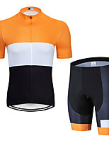 cheap -Men's Short Sleeve Cycling Jersey with Shorts Elastane Black / Yellow Bike Sports Clothing Apparel