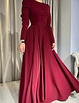 cheap -A-Line Minimalist Elegant Wedding Guest Formal Evening Dress Jewel Neck Long Sleeve Floor Length Stretch Satin with Buttons Pleats 2020