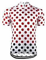 cheap -21Grams Men's Short Sleeve Cycling Jersey White Polka Dot Bike Top Mountain Bike MTB Road Bike Cycling Breathable Sports Clothing Apparel / Stretchy / Athletic