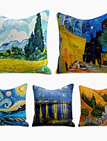 cheap -Cushion Cover 5PC Linen Soft Decorative Square Throw Pillow Cover Cushion Case Pillowcase for Sofa Bedroom 45 x 45 cm (18 x 18 Inch) Superior Quality Machine Washable Painting