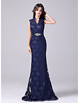 cheap -Mermaid / Trumpet Empire Elegant Wedding Guest Formal Evening Dress V Neck Sleeveless Sweep / Brush Train Lace with Sash / Ribbon Crystals 2021