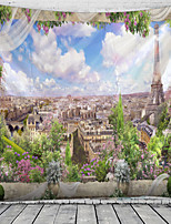 cheap -Window Landscape Wall Tapestry Art Decor Blanket Curtain Hanging Home Bedroom Living Room Decoration Paris Eiffel Tower City Flower