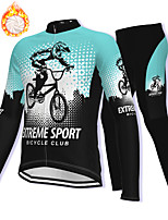 cheap -21Grams Men's Long Sleeve Cycling Jacket with Pants Winter Fleece Spandex Sky Blue Bike Fleece Lining Warm Sports Graphic Mountain Bike MTB Road Bike Cycling Clothing Apparel / Stretchy / Athleisure