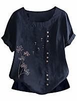 preiswerte -Frauen Tops große Vintage Boho Löwenzahn Muster Print Tuniken mit Knöpfen lässig lose Kurzarm T-Shirts Sommer Strand Baggy O-Neck Bluse Retro bestickte T-Shirts