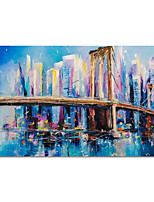 cheap -100% Hand Painted Contemporary Art Oil Paintings on Canvas Modern Stretched and Framed Abstract City Artwork Ready to Hang