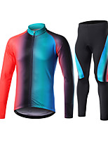 cheap -Men's Long Sleeve Cycling Jersey with Tights Winter Elastane Black / Yellow Blue+Pink Black Bike Sports Clothing Apparel